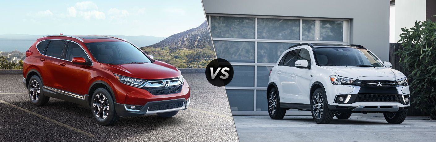 """Passenger side exterior view of a red 2018 Honda CR-V on the left """"vs"""" passenger side exterior view of a white 2018 Mitsubishi Outlander Sport on the right"""