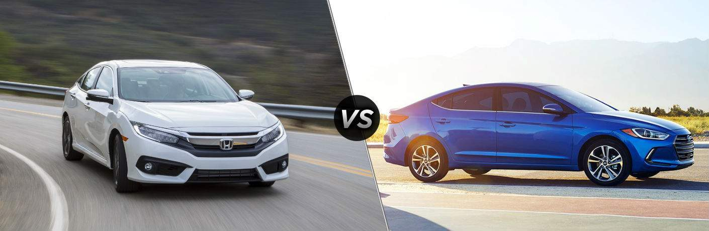 """Front exterior view of a white 2018 Honda Civic Sedan on the left """"vs"""" side exterior view of a blue 2018 Hyundai Elantra"""