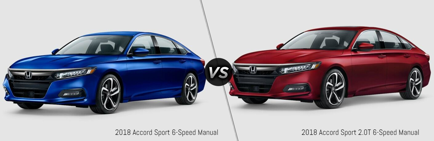 Blue 2018 Honda Accord Sport and red 2018 Honda Accord Sport 2.0T models side by side