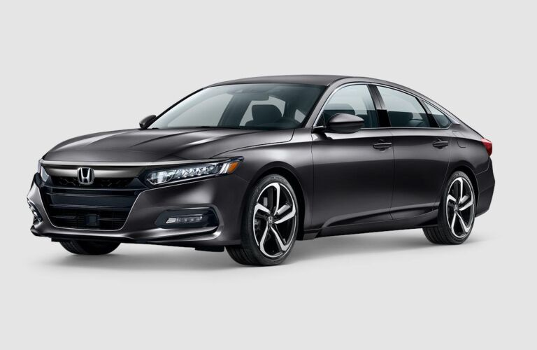 Front side view of a grey 2018 Honda Accord