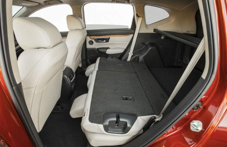 Side view of 2018 Honda CR-V's rear seat folded flat for cargo