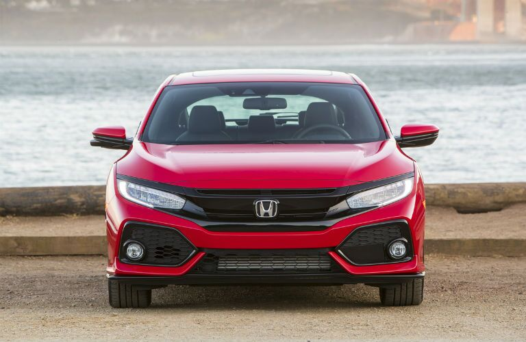 front view of a red 2019 Honda Civic Hatchback