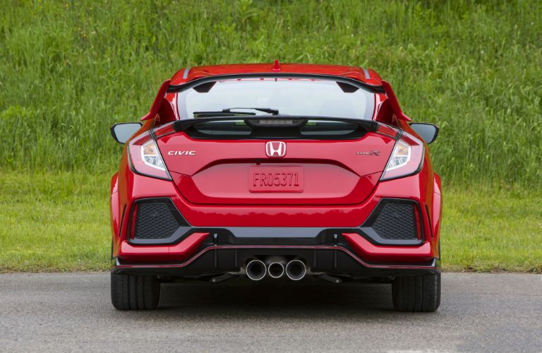 rear view of a red 2019 Honda Civic Type R