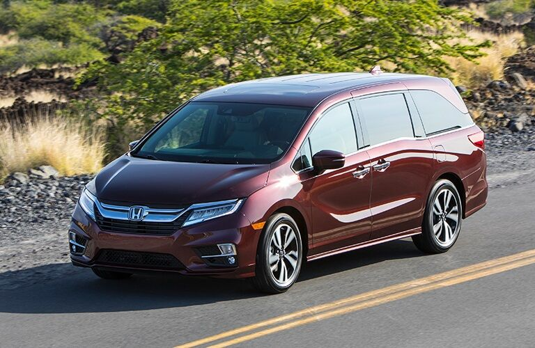 front view of a red 2019 Honda Odyssey