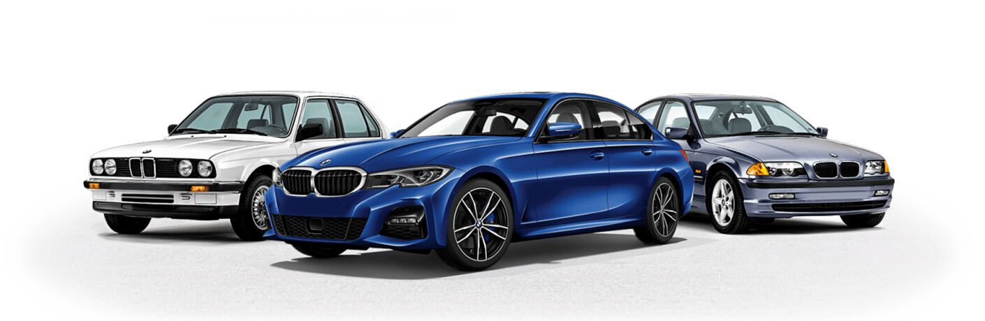BMW 3 Series lineup with 2019 BMW 3 front and center