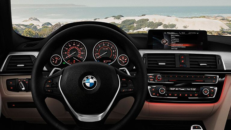 steering wheel and instrumentation on the 2016 BMW 3 Series