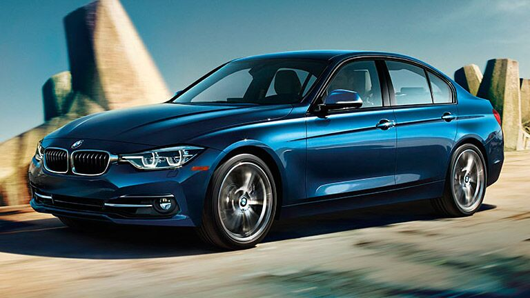 partial profile of a blue 2016 BMW 3 Series