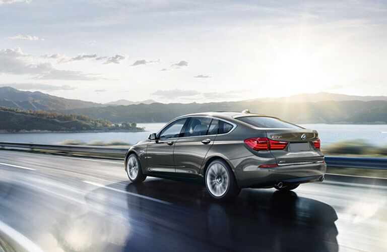 2016 BMW 5 Series on a slick highway
