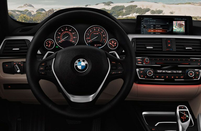 steering wheel and dashboard view of the 2017 BMW 3 Series