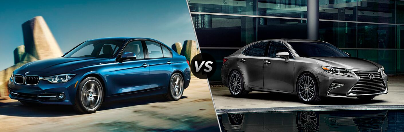 side by side images of the 2018 BMW 3 Series and 2018 Lexus ES