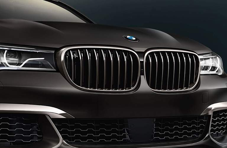 close-up view of the grille of the 2018 BMW 7 Series