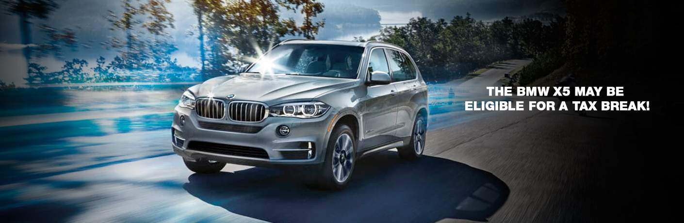 "2018 BMW X5 with the words ""The BMW X5 may be eligible for a tax break!"" to the side"