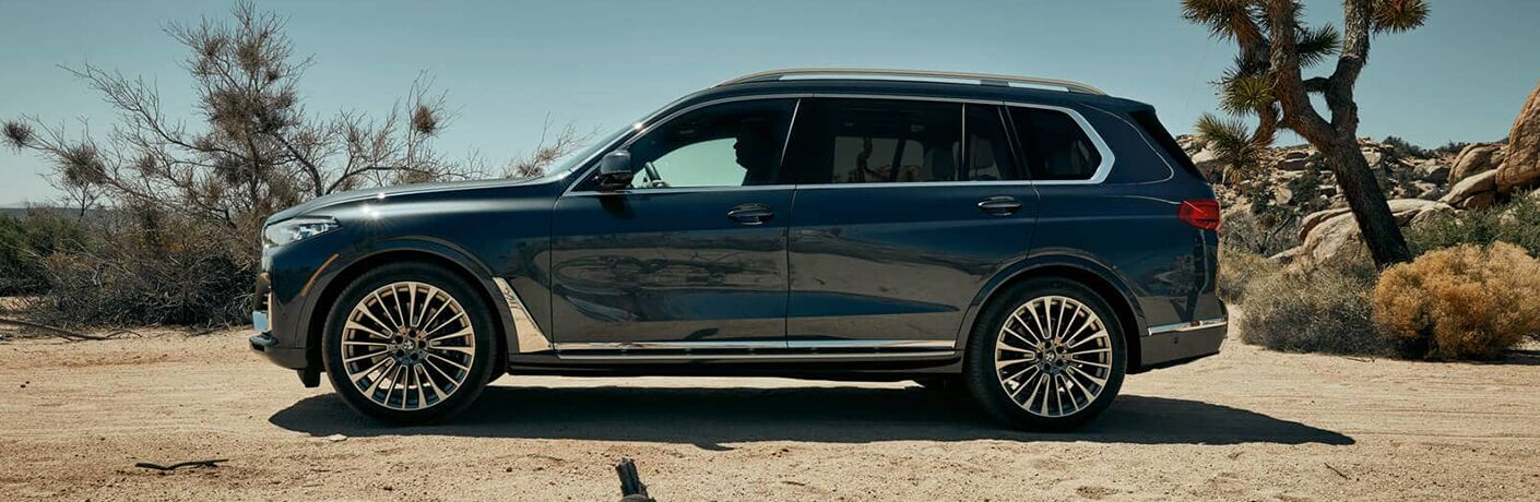 2019 BMW X7 parked in the desert with side profile