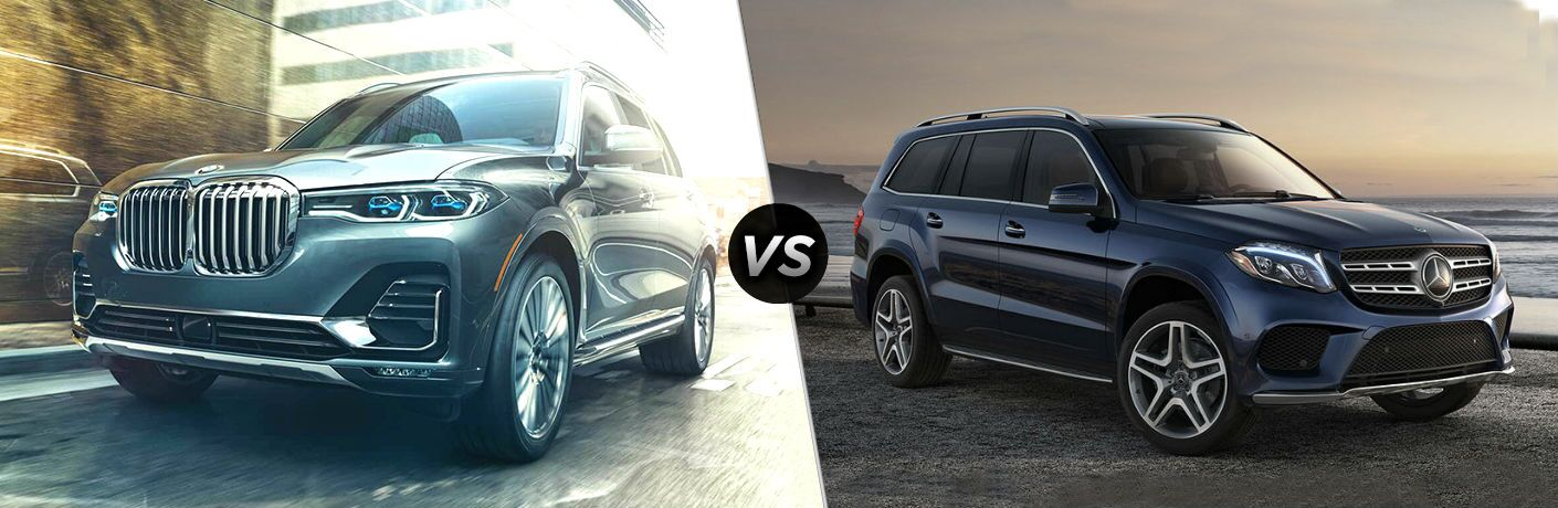 2019 BMW X7 Vs. 2019 Mercedes-Benz GLS split screen comparison