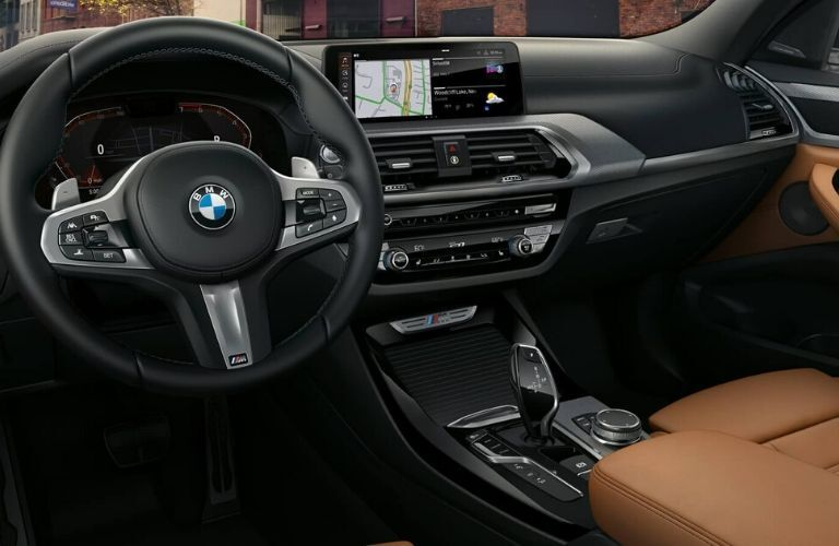 2020 BMW X3 dashboard and steering wheel