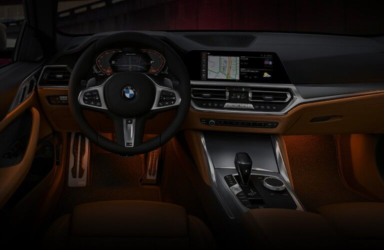 2021 BMW 4 Series dashboard and steering wheel