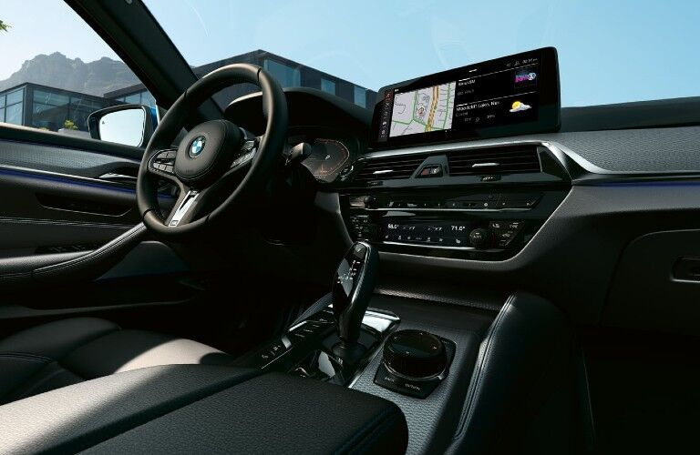 2021 BMW 5 Series dashboard and steering wheel