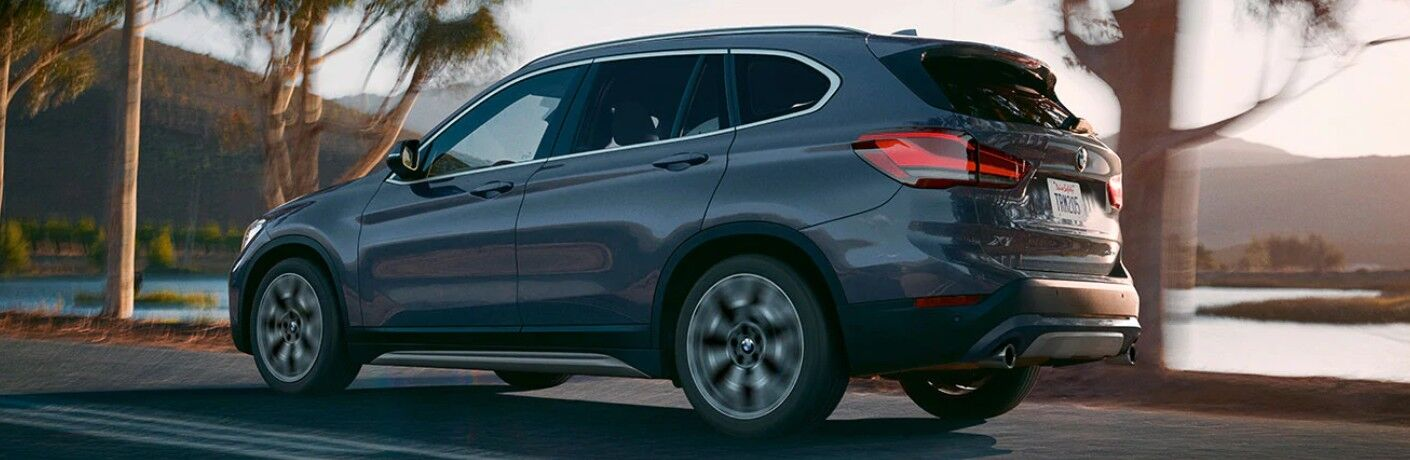 2021 BMW X1 on road along lake