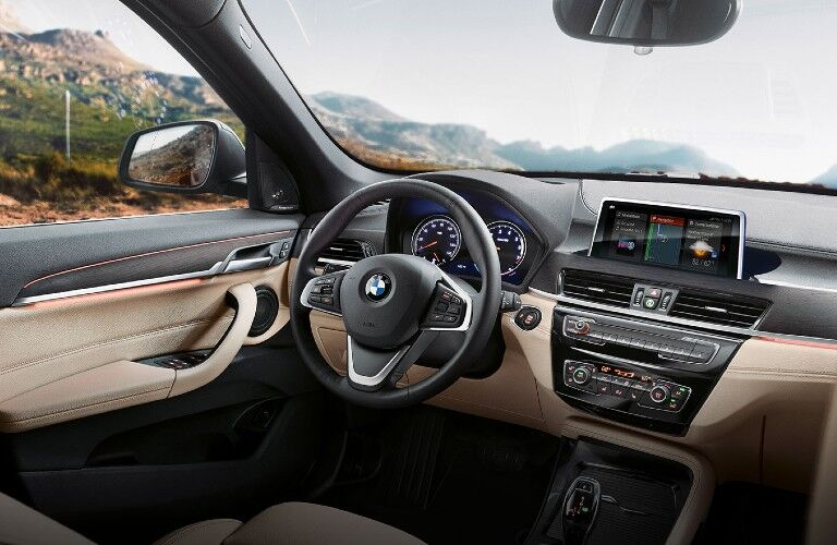 2021 BMW X1 dashboard and steering wheel