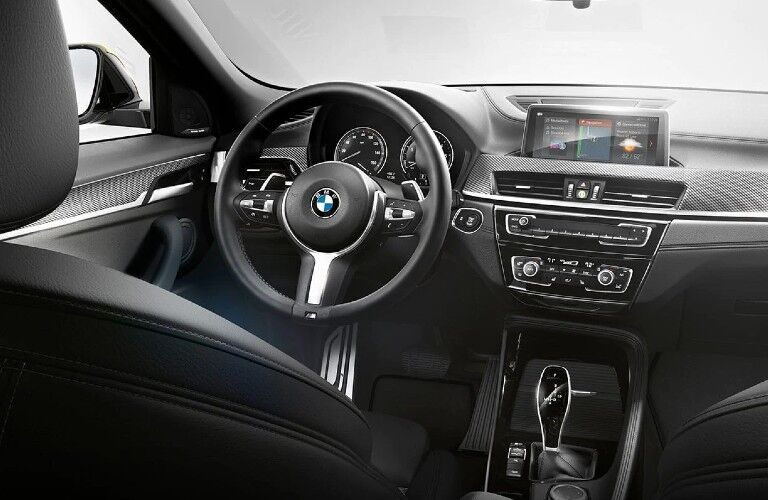 2021 BMW X2 dashboard and steering wheel