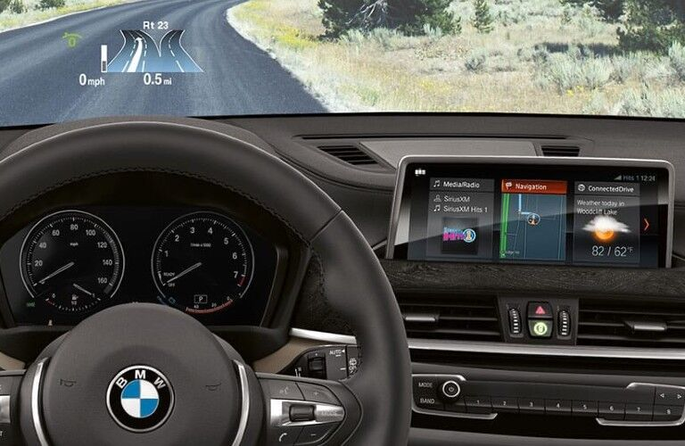 2021 BMW X2 head-up display and central touchscreen