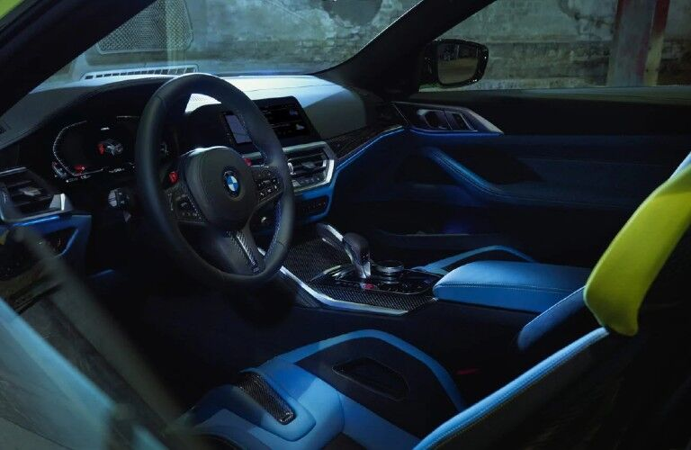 2021 BMW M4 Coupe dashboard and steering wheel