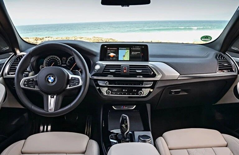 2021 BMW X3 dashboard and steering wheel