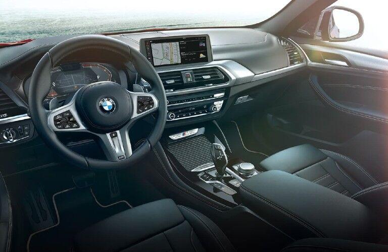 2021 BMW X4 dashboard and steering wheel