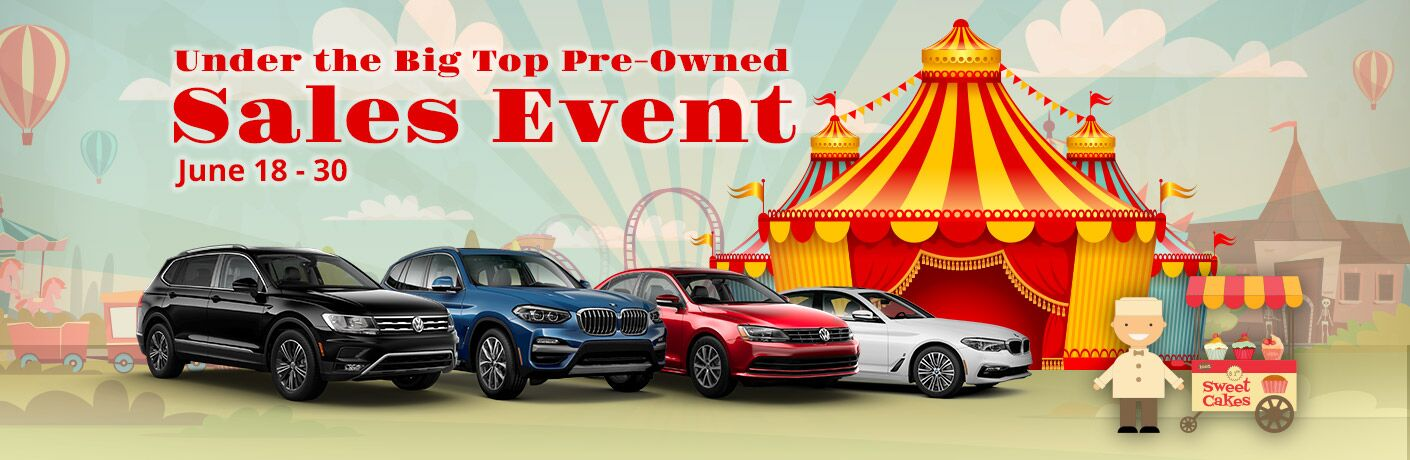 Under the Big Top Pre-Owned Sales Event at the New BMW of Topeka, June 18-30, circus background