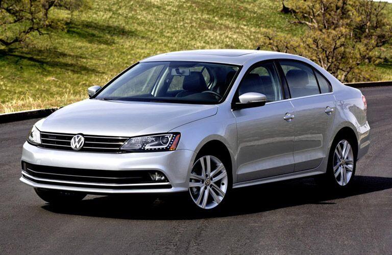 Sleek compact white Volkswagen sedan