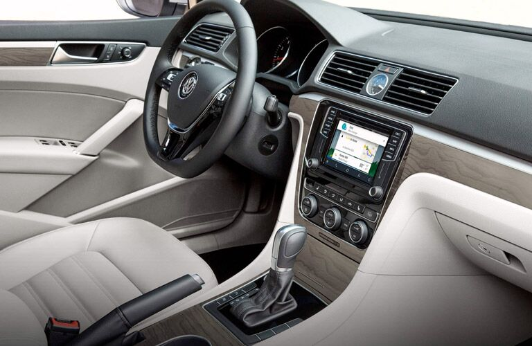 view of the steering wheel and touchscreen system of the 2017 Volkswagen Passat