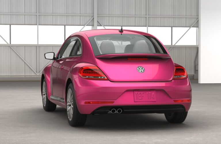 rear view of the bright limited edition 2017 Volkswagen Beetle PinkBeetle