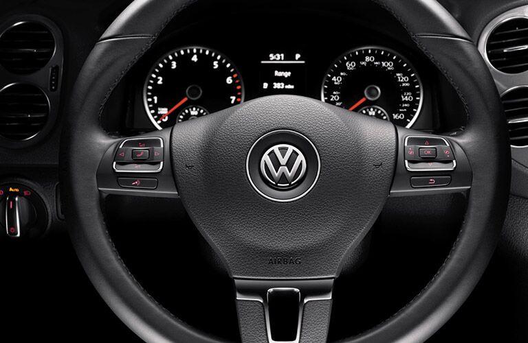 steering wheel and gauge cluster of the 2017 Volkswagen Tiguan