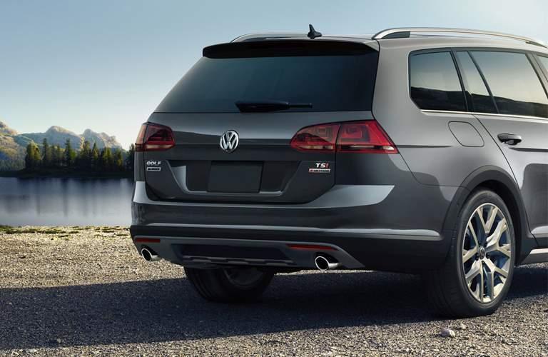 rear view of a grey 2018 Volkswagen Golf Alltrack