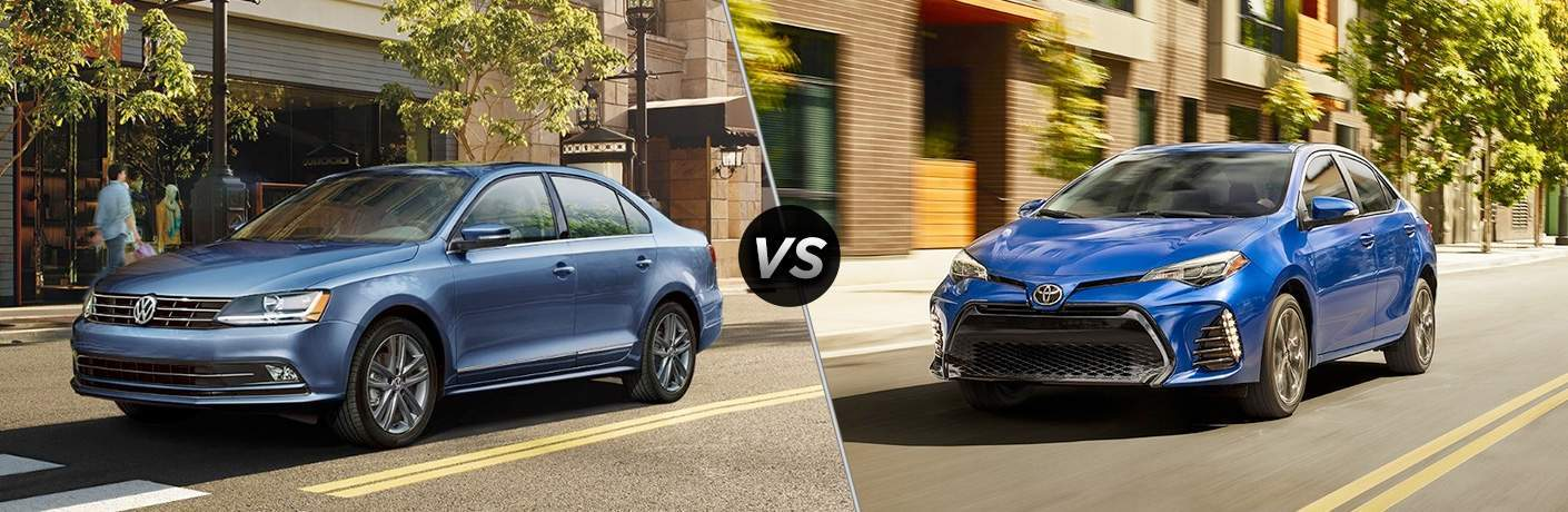 side by side comparison image of a 2018 Volkswagen Jetta and a 2018 Toyota Corolla, both blue and in the city