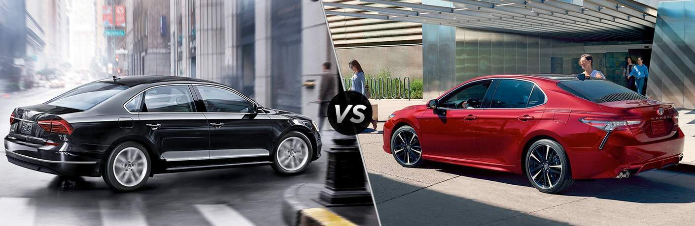 a black 2018 Volkswagen Passat nose-to-nose in a comparison image with a red 2018 Toyota Camry