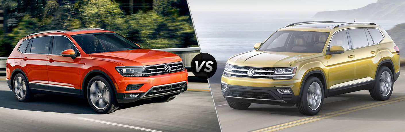 orange 2018 Volkswagen Tiguan and a gold 2018 Volkswagen Atlas side by side in a comparison image
