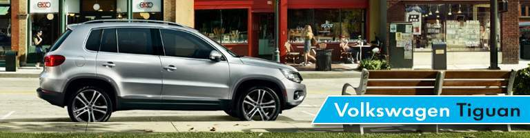 """words """"Volkswagen Tiguan"""" over a side view of a grey 2017 VW Tiguan"""