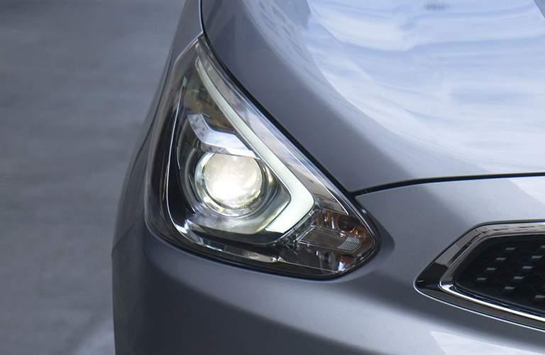 Close up of the 2018 Mitsubishi Mirage headlight