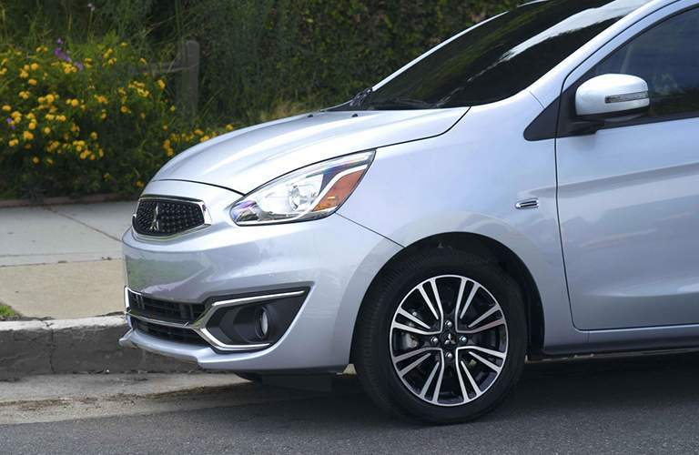 2018 Mitsubishi Mirage front end parked at a curb