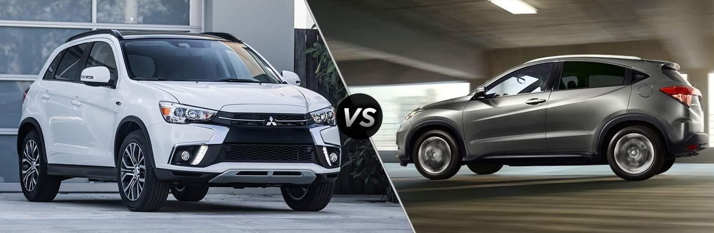 comparison image between the 2018 Mitsubishi Outlander Sport vs 2018 Honda HR-V
