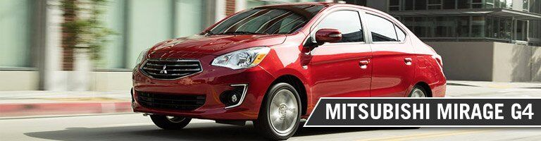 labeled image of the 2018 Mitsubishi Mirage G4 driving on a city street