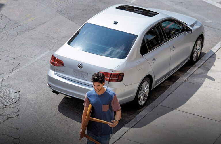 2017 Volkswagen Jetta parked on the street, seen from above