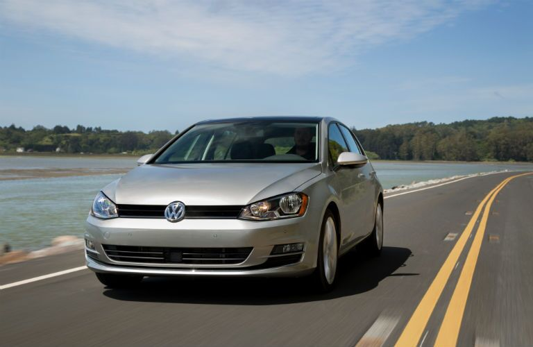 2015 Volkswagen Golf TDI Exterior front fascia and partial drivers side on road