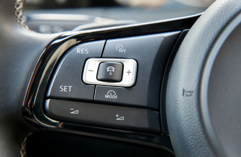 2015 Volkswagen Golf TDI interior close up of steering wheel controls