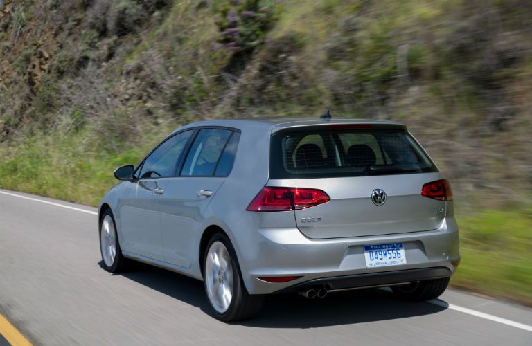 2015 Volkswagen Golf TDI Exterior back fascia and drivers side going fast on road