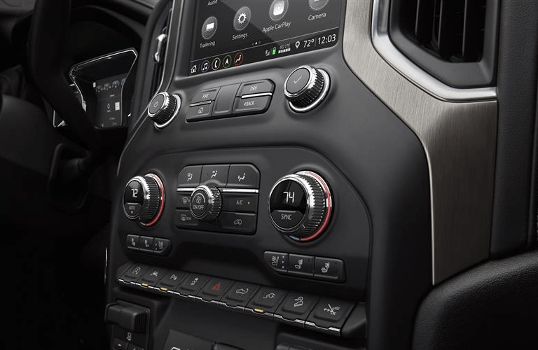 close up of center console in 2019 GMC Sierra