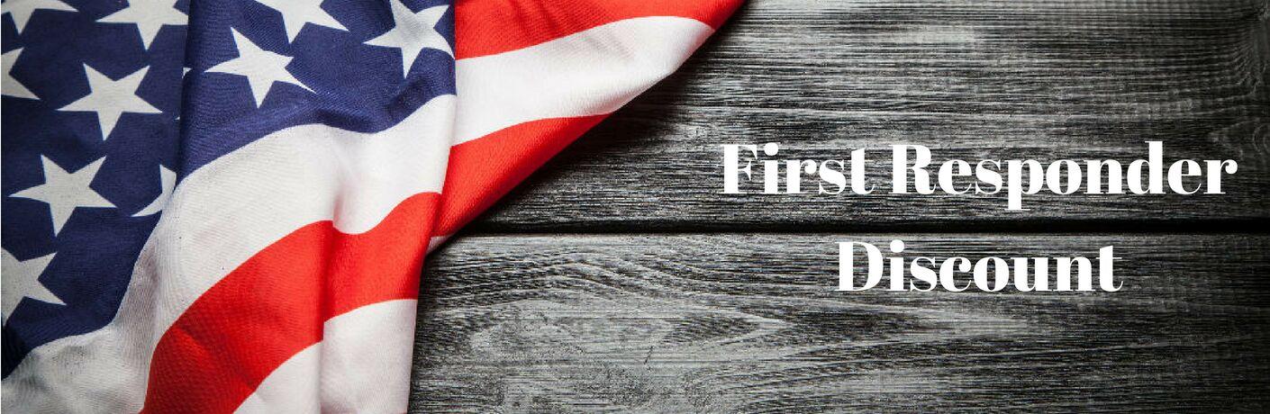 first responder discount Palmen, flag on wooden board