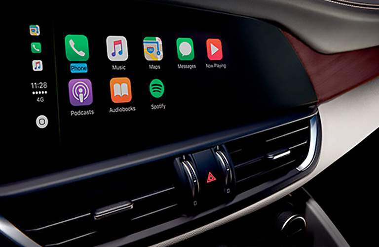 close up of touchscreen display in 2018 Alfa Romeo Giulia