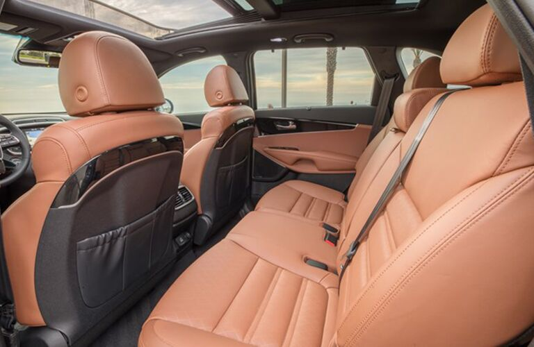 2019 Kia Sorento interior shot of brown leather seating upholstery